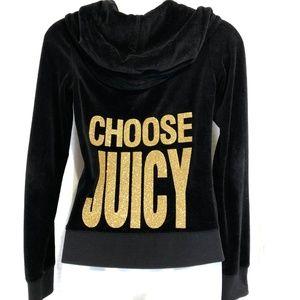 JUICY COUTURE Black Velour Hoodie Jacket ~sz S